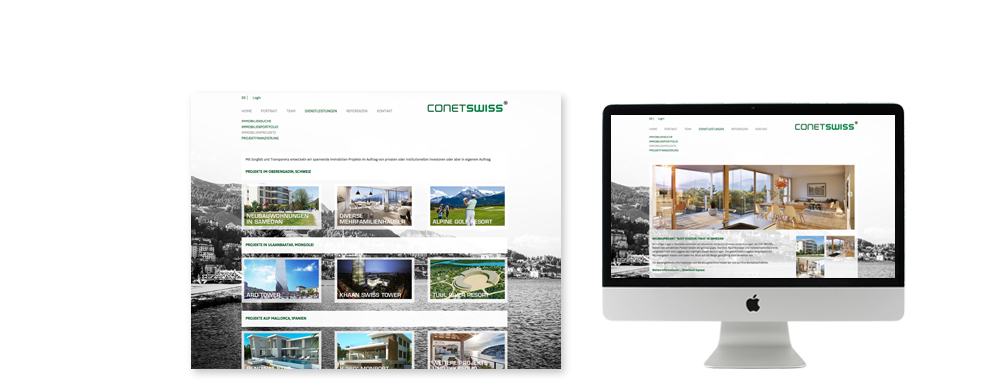 Conetswiss real estate Webdesign